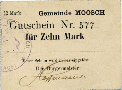 Photos numismatique Billets Billets d'Alsace Moosch, Haut Rhin Gutschein fur 10 mark Moosch, Haut Rhin, gutschein fur 10 mark, bon pour 10 mak, TTB