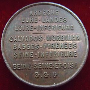 Photos numismatique Monnaies Médailles Défense nationale Medaille, Jeton Defense National, Ardèche, Eure, Landes, Loire, Calvados, 1870-1871, medaille 30 mm, TTB+