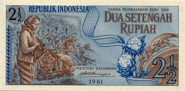 Photos numismatique Billets Billets étrangers Indonesie, Indonesia 2 1/2 Rupiah Indonesie, Indonesia, 2 1/2 Rupiah 1961, NEUF