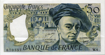Photos numismatique Billets Billets Français Billets libellés en francs 50 francs Quentin 50 Francs Quentin, 1977, W.4/670557, F,67 1 pli central vertical SPL