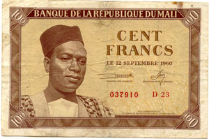 Photos numismatique Billets Billets étrangers Mali 100 Francs MALI, billet de 100 francs 22 septembre 1960, P.2 TB