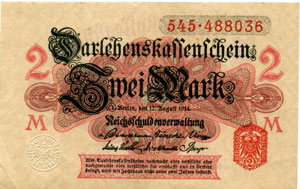 Photos numismatique Billets Billets étrangers Allemagne, Deutschland, Germany, Banknote, Billet 2 Mark, Billet, Banknote Allemagne, Deutschland, Germany, banknote, billet 2 mark type 1914, 12 Aout 1914, P.53 SUPERBE