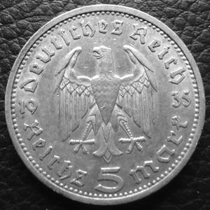 Monnaies Deutschland Ab 1871 Dritte Reich 5 Mark Hindenburg Thierry