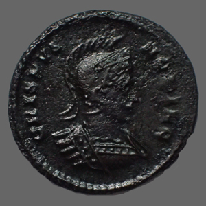 Photos numismatique Monnaies Empire Romain CRISPUS, CRISPE, CRISPO Follis ou Nummus CRISPUS, follis ou nummus Londres (London) en 320-321, Virtus Exercit Vot xx, 2,40 grms, RIC.194 TTB+