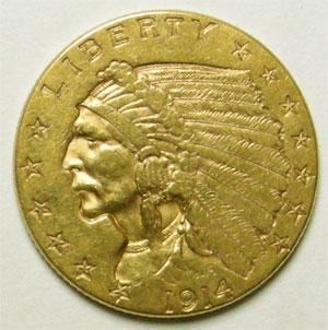Monnaies Auslandische Gold Munzen Usa 2 12 Dollars Tête Dindien