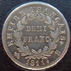 Photo numismatique  Monnaies Monnaies Françaises 1er Empire Demi franc NAPOLEON I er, demi franc 1811 B Rouen, G.399 TTB+