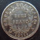 Photo numismatique  Monnaies Monnaies Fran�aises 1er Empire Demi franc NAPOLEON I er, demi franc 1811 A Paris, G.399 TTB+