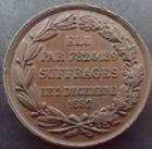 Photo numismatique  Monnaies Médailles Election, suffrage, politique Médaille en cuivre NAPOLEON III, Médaille en cuivre 28 mm, élu par 7824189 suffrages le 2 Décembre 1852, Signé Dantzeil,  quelques coups sinon TTB+
