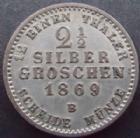 Photo numismatique  Monnaies Allemagne avant 1871 Allemagne, Deutschland, Preussen, Prusse 2 1/2 silber groschen Allemagne, Deutschland, Prusse, Preussen, 2 1/2 silber groschen 1869 B, Wilhelm, J.90 TTB+