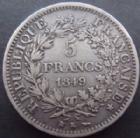 Photo numismatique  Monnaies Monnaies Françaises Deuxième République 5 Francs 5 francs Cérès 1849 K Bordeaux, G.683 TTB R!