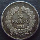 Photo numismatique  Monnaies Monnaies Françaises Louis Philippe 1/4 de Franc LOUIS PHILIPPE, 1/4 de franc 1833 A Paris, G.355 SUPERBE