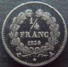 Photo numismatique  Monnaies Monnaies Fran�aises Louis Philippe 1/4 de Franc LOUIS PHILIPPE, 1/4 de franc 1834 A Paris, G.355 TTB+