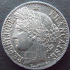 Photo numismatique  Monnaies Monnaies Françaises Deuxième République 1 Franc 1 franc Cérès 1850 BB Strasbourg,