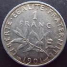 Photo numismatique  Monnaies Monnaies Françaises Troisième République 1 Franc 1 franc Semause de Roty 1901, G.467 Bon TTB