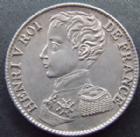 Photo numismatique  Monnaies Monnaies Fran�aises Henri V 1 Franc HENRI V, 1 franc 1831, 4,99 grms, G.451 SUPERBE+