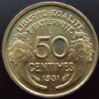 Photo numismatique  Monnaies Monnaies Françaises Troisième République 50 Centimes 50 centimes Morlon 1931, G.423 SUPERBE