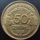 Photo numismatique  Monnaies Monnaies Françaises Troisième République 50 Centimes 50 Centimes Morlon 1939 B Bruxelles, G.423 TTB