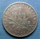 Photo numismatique  Monnaies Monnaies Françaises Troisième République 1 Franc 1 Franc type semeuse de Roty, 1903, Gadoury 467, TB+ Rare!!