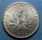 Photo numismatique  Monnaies Monnaies Françaises Troisième République 1 Franc 1 Franc type semeuse de Roty, 1904, Gadoury 467, SUP+