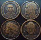 Photo numismatique  Monnaies Médailles Exposition coloniale Médaille en cuivre Exposition Coloniale Internationale de 1931, ensemble de 4 médailles en cuivre 32 mm, Amerique, Asie, Afrique et Océanie, SUPERBE+