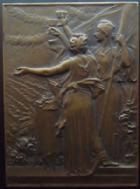 Photo numismatique  Monnaies Médailles Maire, Mairie, ville, village Plaquette en bronze Banquet des Tuileries, plaquette en bronze 64x47 mm, commune d'Hérimocourt, signée F.VERNON, SUPERBE