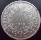 Photo numismatique  Monnaies Monnaies Françaises Troisième République 5 Francs 5 francs Hercule 1876 A, G.745a TTB+