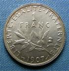 Photo numismatique  Monnaies Monnaies Françaises Troisième République 1 Franc 1 Franc type semeuse de Roty, 1907, Gadoury 467, SUP à FDC