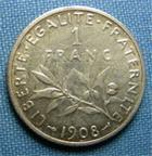 Photo numismatique  Monnaies Monnaies Françaises Troisième République 1 Franc 1 Franc type semeuse de Roty, 1908, Gadoury 467, TTB+