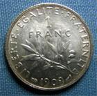 Photo numismatique  Monnaies Monnaies Françaises Troisième République 1 Franc 1 Franc type semeuse de Roty, 1909, Gadoury 467, SUP à FDC