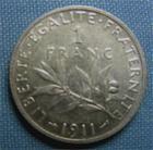 Photo numismatique  Monnaies Monnaies Françaises Troisième République 1 Franc 1 Franc type semeuse de Roty, 1911, Gadoury 467, TTB+