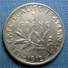 Photo numismatique  Monnaies Monnaies Françaises Troisième République 1 Franc 1 Franc type semeuse de Roty, 1912, Gadoury 467, Superbe