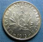 Photo numismatique  Monnaies Monnaies Françaises Troisième République 1 Franc 1 Franc type semeuse de Roty, 1913, Gadoury 467, SUP à FDC