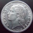 Photo numismatique  Monnaies Monnaies Françaises Gouvernement Provisoire 5 Francs 5 francs Lavrillier 1946, aluminium, G.766 SUPERBE+