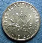 Photo numismatique  Monnaies Monnaies Françaises Troisième République 1 Franc 1 Franc type semeuse de Roty, 1914, Gadoury 467, SUP à FDC