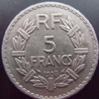 Photo numismatique  Monnaies Monnaies Françaises Troisième République 5 Francs 5 francs Lavrillier 1938 nickel, G.760 Bon TTB