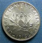 Photo numismatique  Monnaies Monnaies Françaises Troisième République 1 Franc 1 Franc type semeuse de Roty, 1916, Gadoury 467, SUP à FDC