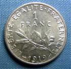 Photo numismatique  Monnaies Monnaies Françaises Troisième République 1 Franc 1 Franc type semeuse de Roty, 1919, Gadoury 467, Superbe à Fleur de coins