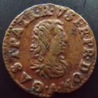 Photo numismatique  Monnaies Monnaies Féodales Dombes Denier Tournois Dombes, Gaston d'Orleans, denier tournois 1649, 1,46 grms, Bd.1088 Var. TTB+