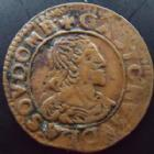 Photo numismatique  Monnaies Monnaies F�odales Dombes Double Tournois Dombes, Gaston d'Orleans, double tournois 1640, 1,80 grms, Bd.1086 Var. TTB