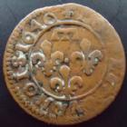 Photo numismatique  Monnaies Monnaies Féodales Dombes Double Tournois Dombes, Gaston d'Orleans, double tournois 1640, 1,80 grms, Bd.1086 Var. TTB