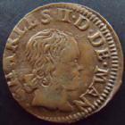 Photo numismatique  Monnaies Monnaies Féodales Ardennes, Charleville Denier Tournois Ardennes, Charleville, Charles II de Gonzague, denier tournois 1653, 1,30 grms, PA.1817 Var. TTB+