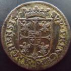 Photo numismatique  Monnaies Monnaies Féodales Ardennes, Charleville Liard au buste large Ardennes, Charleville, Charles I de Gonzague, liard au buste large 1610, 4,37 grms, PA.6148 Var. TTB