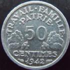 Photo numismatique  Monnaies Monnaies Françaises Etat Français 50 Centimes 50 centimes Bazor 1942, G.425 a SUPERBE à FDC