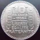 Photo numismatique  Monnaies Monnaies Françaises Troisième République 10 Francs 10 francs Turin en argent 1938, G.801 TTB+