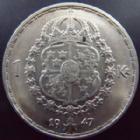 Photo numismatique  Monnaies Monnaies étrangères Suède, Sverige, Sweden 1 Krone, 1 Kronen, 1 Kronor, 1 Kroner Suède, Sweden, 1 krone 1947, TTB/TTB+