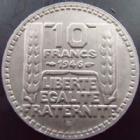 Photo numismatique  Monnaies Monnaies Françaises Gouvernement Provisoire 10 Francs 10 francs Turin 1946 B Rameaux longs, G.810 SUPERBE rare!