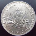 Photo numismatique  Monnaies Monnaies Françaises Troisième République 2 Francs 2 francs Semeuse de Roty 1914 C, G.532 SUPERBE