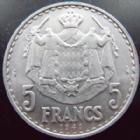 Photo numismatique  Monnaies Monnaies étrangères Monaco 5 Francs MONACO, Louis II, 5 francs 1945 aluminium, G.135 presque SUPERBE