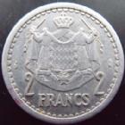Photo numismatique  Monnaies Monnaies étrangères Monaco 2 Francs MONACO, Louis II, 2 francs aluminium non daté, G.131 TTB+