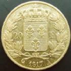 Photo numismatique  Monnaies Monnaies Française en or Louis XVIII 20 Francs or LOUIS XVIII, 20 francs or 1817 A Paris, or 900°/°°, 6,45 grms, G.1028 TB à TTB